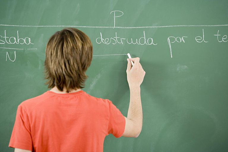 Student writing spanish on a blackboard