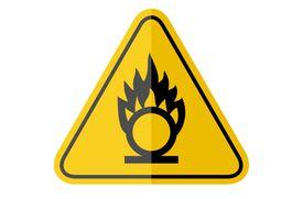 Isolated oxidising agent, common hazards symbols
