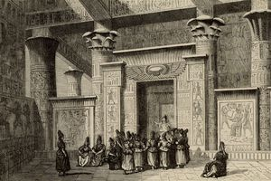 Pythagoras outside with Egyptian priests